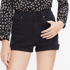 Madewell Black Jean Cuffed Shorts